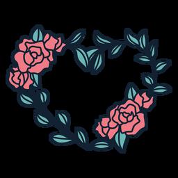 Guirnalda de flores rosas dibujadas a mano
