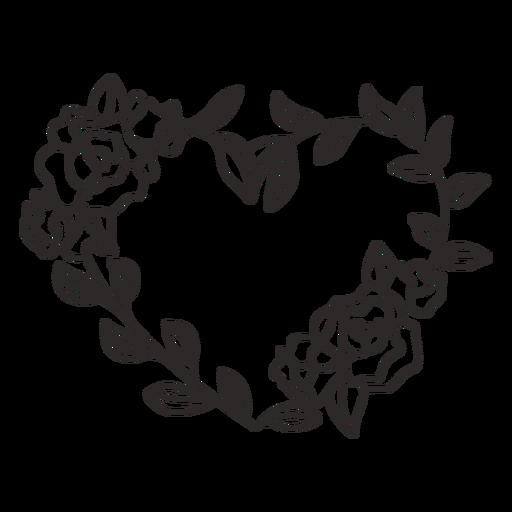 Flower wreath roses stroke