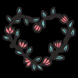 Mão simples de grinalda de flor desenhada