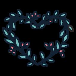 Guirnalda de flores hojas pequeñas dibujadas a mano