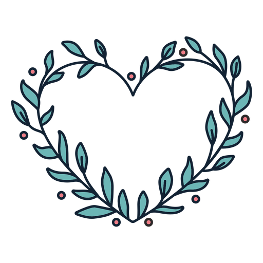 Flower wreath small leaves simple hand drawn Transparent PNG