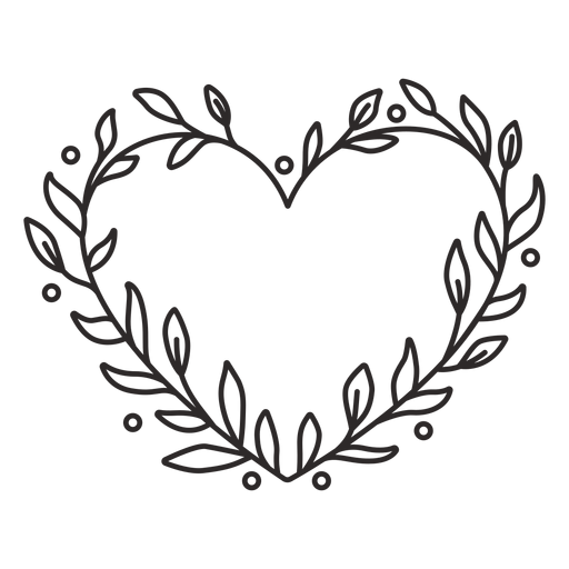 Flower wreath small leaves simple stroke Transparent PNG