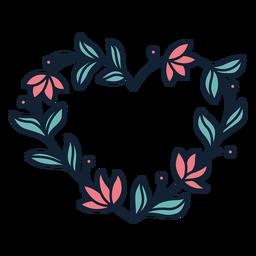 Grinalda de flores folhas grossas mão desenhada