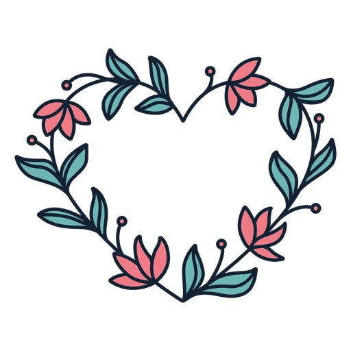 Flower wreath thick leaves hand drawn