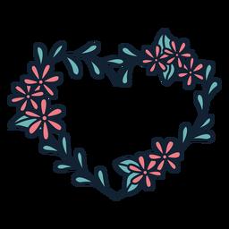 Mão grinalda de flores folhas finas desenhadas
