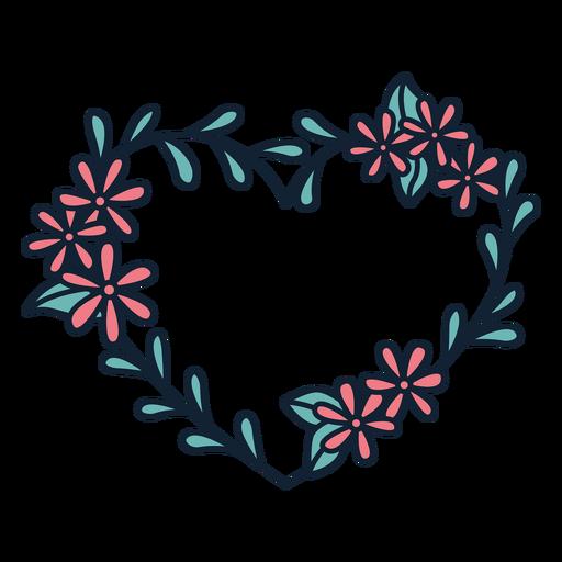 Flower wreath thin leaves hand drawn