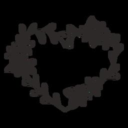 Flower wreath thin leaves stroke