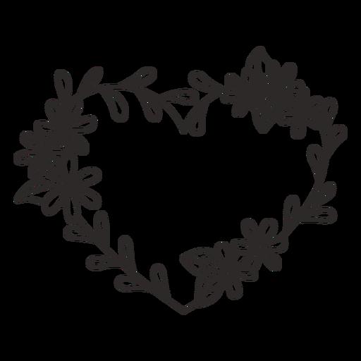 Corona de flores hojas delgadas trazo