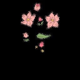Brotes de flores dibujo dibujado a mano
