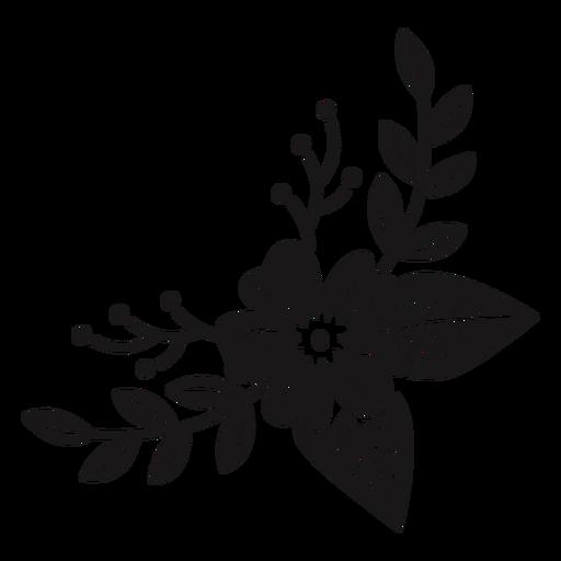 Composição de flores em forma de lua crescente
