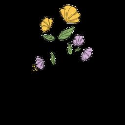Flores hojas dibujo dibujado a mano