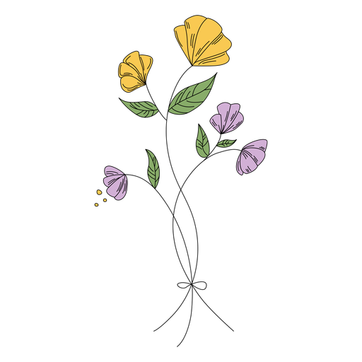 Flowers leaves drawing hand drawn