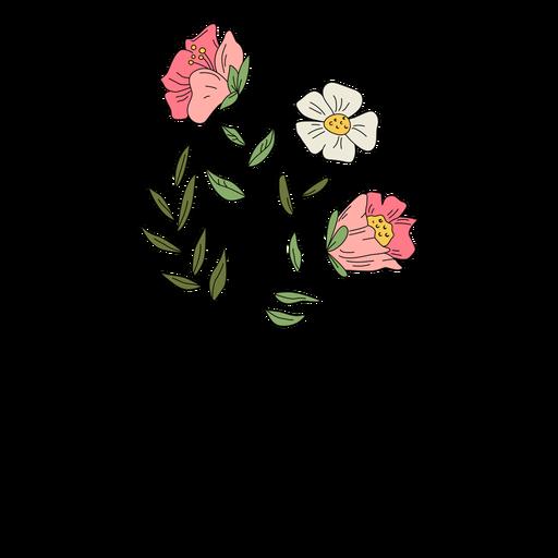 Flores hojas rojo blanco dibujo dibujado a mano