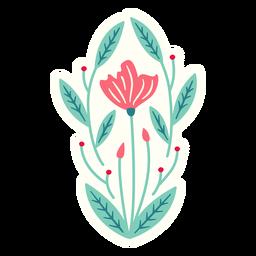Composición de primavera ovalada de flores plana
