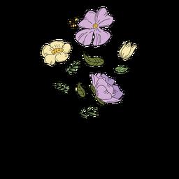 Pólen de flores desenho mão desenhada
