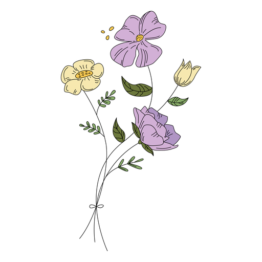 Flores polen dibujo dibujado a mano