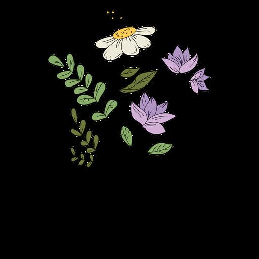 Flores púrpura polen dibujo dibujado a mano
