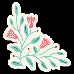 Composición de primavera triangular de flores planas