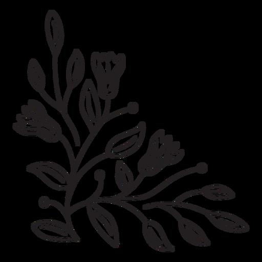 Flowers border composition stroke