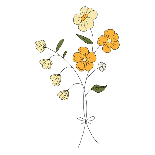 Flowers yellow drawing hand drawn