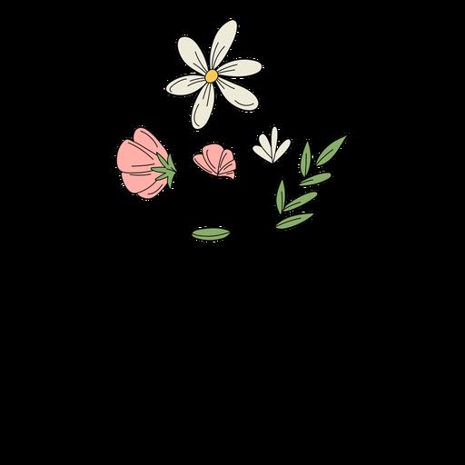 Flores blancas dibujo dibujado a mano