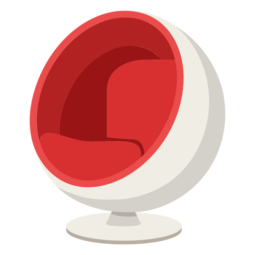 Furniture pop art chair spherical red flat