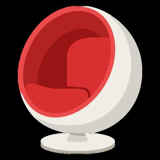 Mobiliario pop art silla esférica roja plana