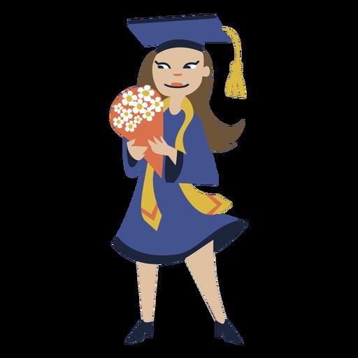 Girl bouquet graduation flat Transparent PNG