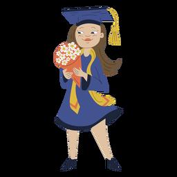 Girl bouquet graduation hand drawn