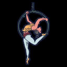 Circo menina pendurado anel mão desenhada