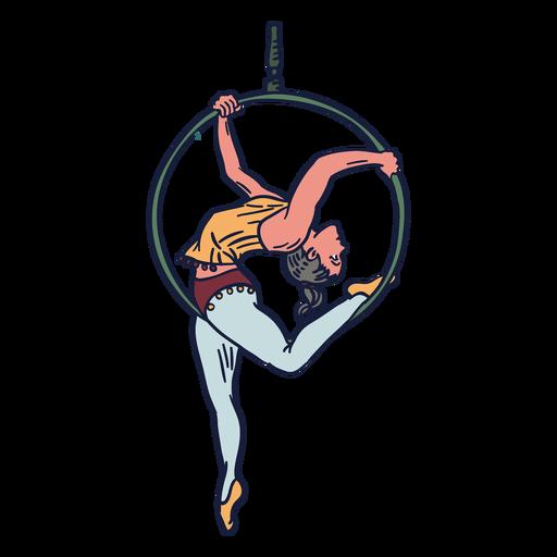 Girl circus hanging ring hand drawn