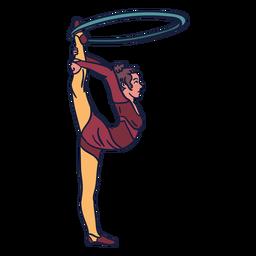 Mão de anel de circo de menina desenhada