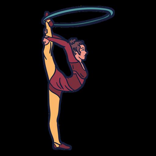 Mädchen Zirkusring Hand gezeichnet