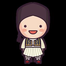 Menino bonito personagem Grécia rindo plana