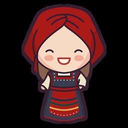 Chica de lindo personaje de Grecia riendo plana