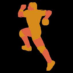 Hombre de balonmano espalda plana