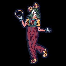 Mão de circo coringa senhora desenhada