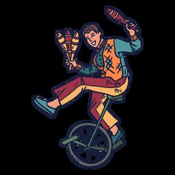 Ciclo de circo malabarista dibujado a mano