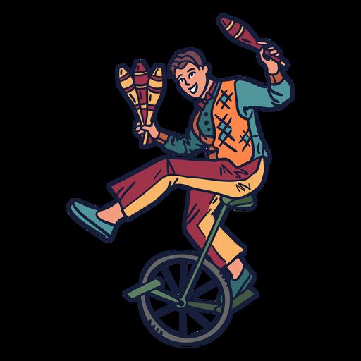 Juggler circus cycle hand drawn
