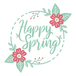 Lettering happy spring flat