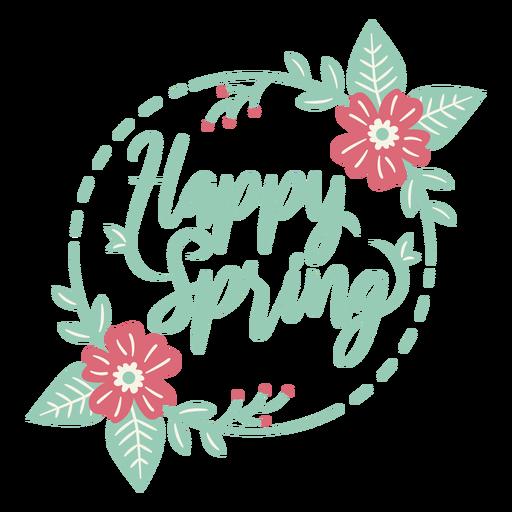 Lettering happy spring flat Transparent PNG