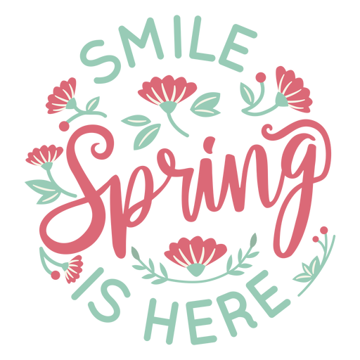 Lettering spring is here flat Transparent PNG