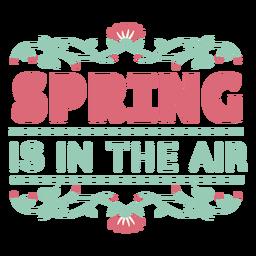 Letras de primavera está en el aire plano