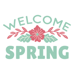 Lettering welcome spring flat