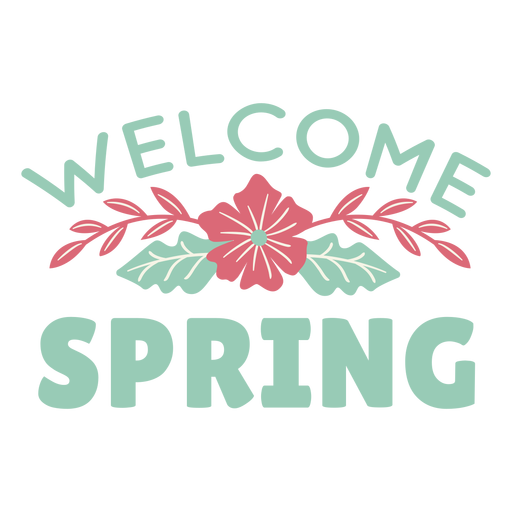 Lettering welcome spring flat Transparent PNG