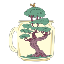 Mason jar art bonsai tree