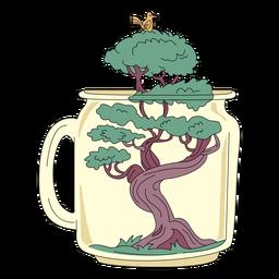 Mason jar arte bonsai árvore