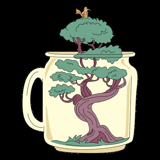 Tarro de masón arte bonsai árbol