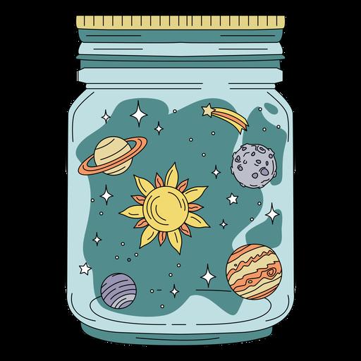 Planetas de arte de tarro de masón