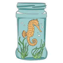 Mason jar art sea horse